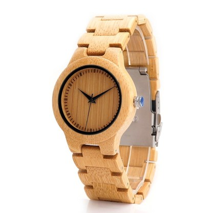 Ceas din bambus Bobo Bird cu curea din lemn, L28