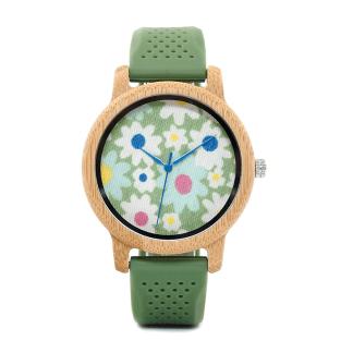 Ceas de mana din lemn de bambusBobo Bird cu flori si curea din silicon verde