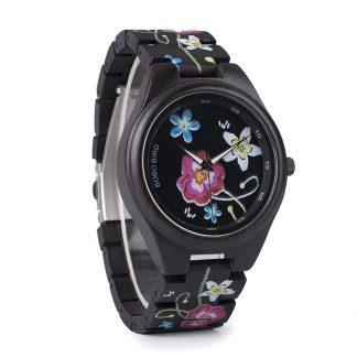 Ceas din lemn Bobo Bird cu flori, P06