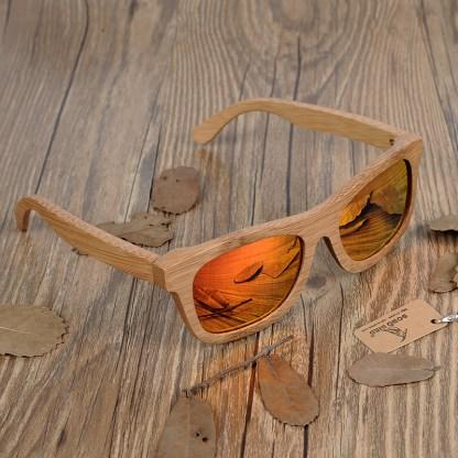 Ochelari de soare din lemn Bobo Bird BG003 lentila portocaliu