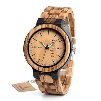 Ceas din lemn Bobo Bird cu curea din lemn, O26