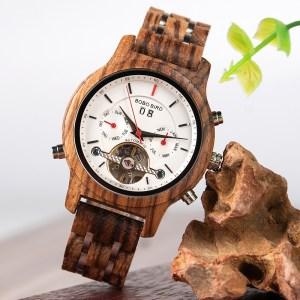 Ceas din lemn Bobo Bird Q27-2 alb