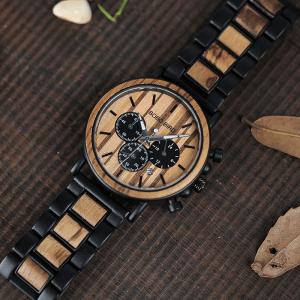 Ceas din lemn Bobo Bird cu curea din lemn P09-1
