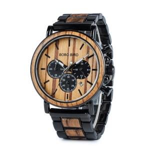 Ceas din lemn Bobo Bird cu curea din lemn, P09