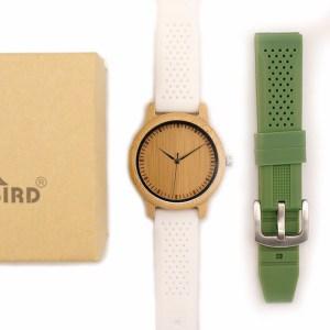 Ceas din bambus Bobo Bird cu curea din silicon alb, B07 + verde
