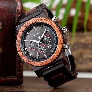 Ceas mare din lemn Bobo Bird cu curea din lemn, R15