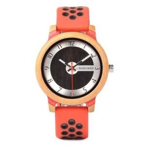 Ceas din bambus Bobo Bird cu curea din silicon rosu, R11-1