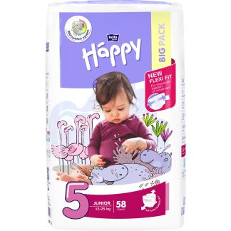 Scutece Happy Junior 5, 12-25 kg, 58 buc