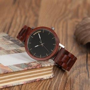 Ceas din lemn Bobo Bird cu curea din lemn WM16