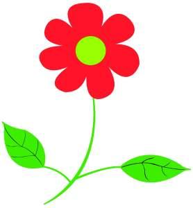 Getekende rode bloem