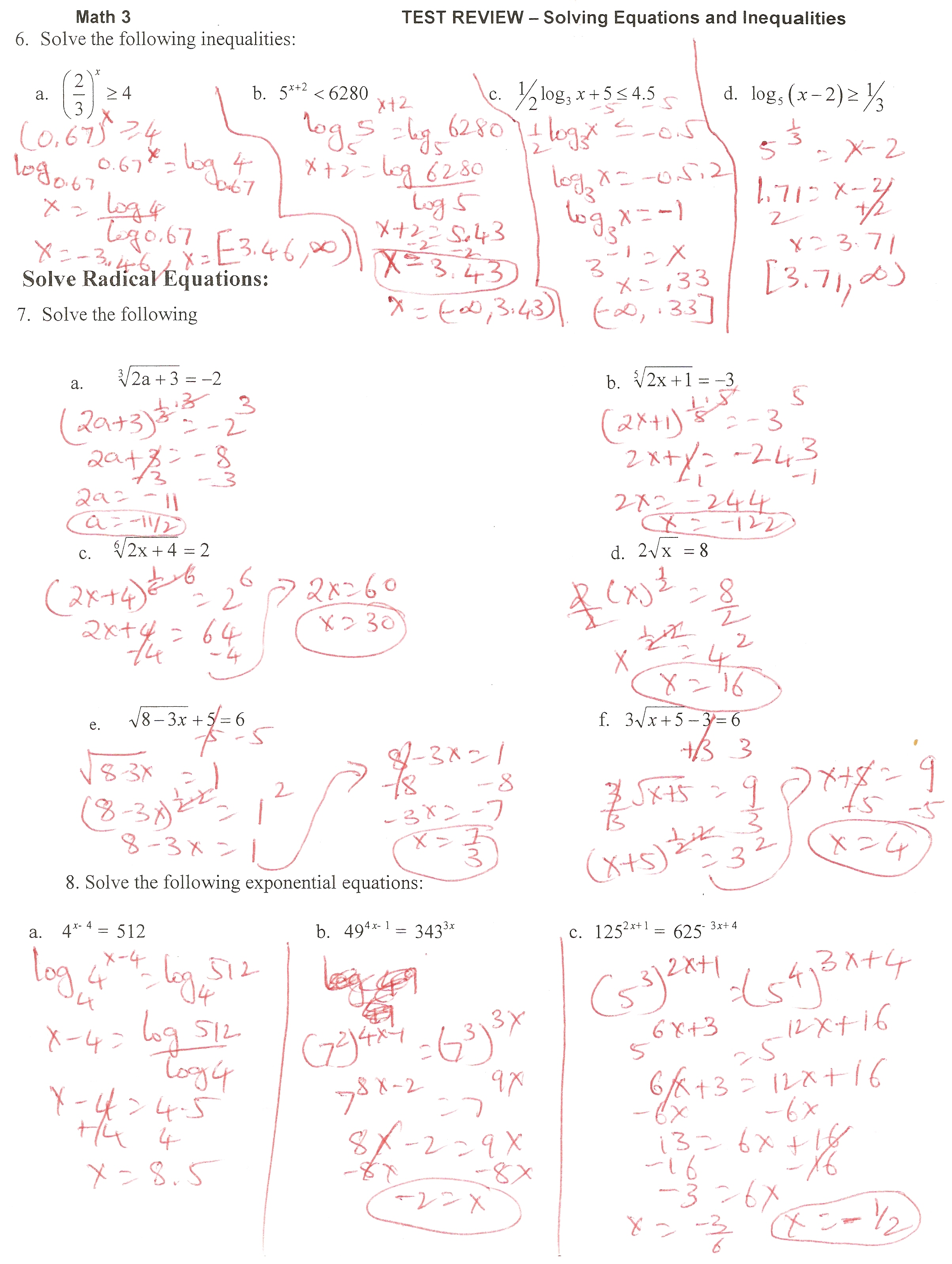 Solving Equations Review Packet