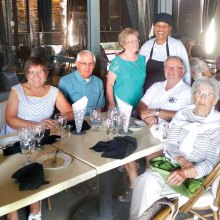 Le Cercle Français members are welcomed by Chef Aurore. From left: Linda Rossetto, Bill Rossetto, Diane Larochelle, Vogue Chef Aurore, Louis Larochelle and Simone Jacobs