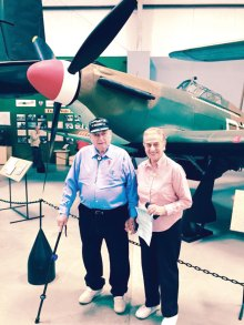 Jacques and Janine Drabier standing in front of a Hawker Hurricane fighter