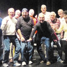 "The Team Spirit of the Senators! Left to Right: Doug Christensen, Bill Palmer. Dave Silverstein, Tony Palmer, Gary Luders, Jeff Buda, Mike D'Onofrio, John Gimon, Glenn Grube and ""owner of the team,"" Melissa Kallett."