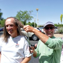 Joking around with their friend and fellow PebbleCreek bocce player, Bill Wright and Vivian Klick threaten to cut off William Moser's long locks with a pair of giant scissors. Also on hand to witness William's haircut were friends and fellow bocce players Joe and Carolyn Rota, Kenneth and Carrie Cina and Roger Milewski.