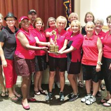 Eagle's Nest Team - Winner of Robson Challenge Trophy: back row, left to right: Emma Mosley (co-chair), Cindy Tollefson, Kathy Hubert-Wyss, Ronnie Decker, Carol Sanders, Pat Laatsch, Jane Wiederhold, Elaine Carlson, Sue White, Judy Newell (co-chair); front row: Carolyn Suttles, Kittie Day, Debbie Sayre, Donna Havener, Becky Rio