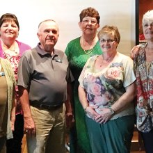 Left to right: Joyce Van Ornam, secretary, Kathy Weldon, activities director, Frank Rodgers, president, Deanna McKeown, vice president, Shawnee Robison, publicity director and Judy Ashley, treasurer; photo by Dan Miczek