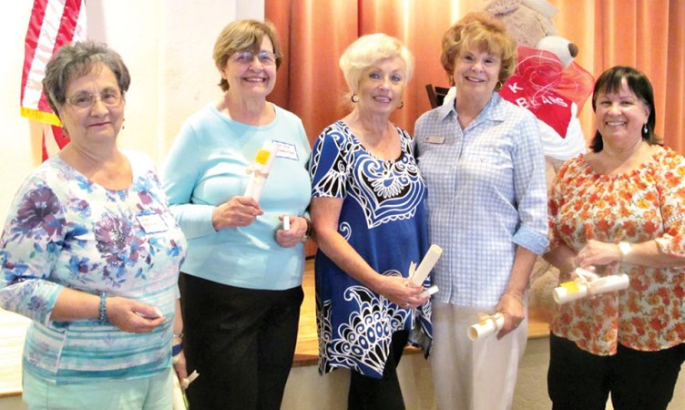 Ten Year Kare Bears award recipients, left to right: Marilyn Roberts, Farida McMaster, Janis Korba, Sherry Atwater and Norma Klinger