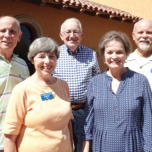 PebbleCreek Singers elects new officers for 2017-2018; left to right: Larry Eidt, immediate past president; Diane Piehl, secretary; Gail Kennedy, Musical Director; Walt Kalback, president; Jerry Drake, vice president; Cliff Mercer, treasurer, was not available for photo