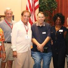 Left to right: Wayne Moore, Paul Rubsam, Mike Siegel, speaker, Jon Schofield, treasurer, Jeri Cabrera, Bari Cavallo, vice president and Linda Migliore, president