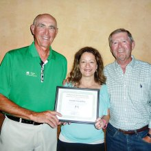 Left to right: PCIAC President Doyle Brown, Guidance Counselor Mrs. Grumbling with a Certificate from the club and Jim McKenna, co-chair of the Charitable Contributions Committee.