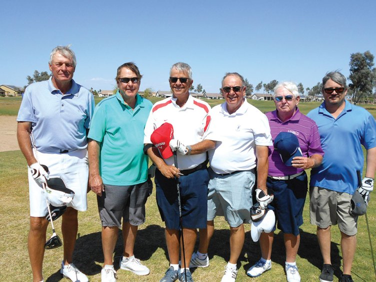 Flight A Group Winners, left to right: Larry Dick and Tom Spraggins, Bob Millikan and Kermit Reich and Bill Schaffer and Mark Schaffer