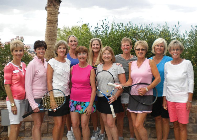Champion 2016-2017 Racquettes Tennis Team, first row: Linda Smith, Lynne Carlyle, Mary McConaughey, Karyn Swinford, Cindy Henry, Heidi Farrell, Lynn Margison; second row: Bonnie Elliott, Jill Lewis, Marty McAllister, Sandi Nielson; missing from photo: Sharon Brady, Debbie Sayre