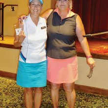 PCL9GA President Lynn Bishop-Pidcock with Club Champion and Low Net Winner Char Morrow