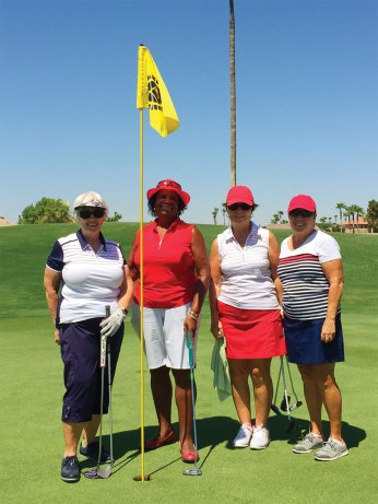 Left to right: Barbara Chilton (low overall net), Carolyn Suttles, Char Held, Ellen Stergulz (low net flight two)