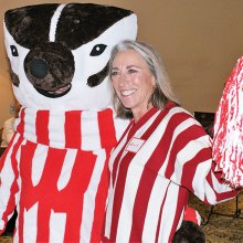 The photo is Bucky Badger and his cheerleader (aka Rich and Bonnie Elliott).