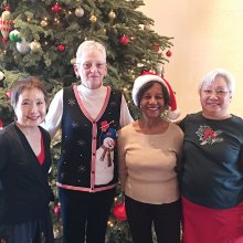 Susie Moy, Diana Berty, Millie Callahan and Shirley Jacobs at the Christmas 2016 Country Christmas Music line dance sessions