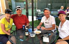 Tennis Club members Pat and Norm Smith, Len and Kay Seif