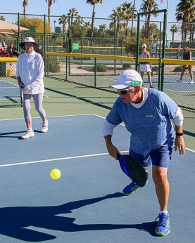 Sheri Sears and Rene deLassus work their way up to the front of the court; Photo by Dannie Cortez.