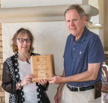 Kathy Stauffer received a Novice Carver of the Year award from Lyle Chrisman, Club President.