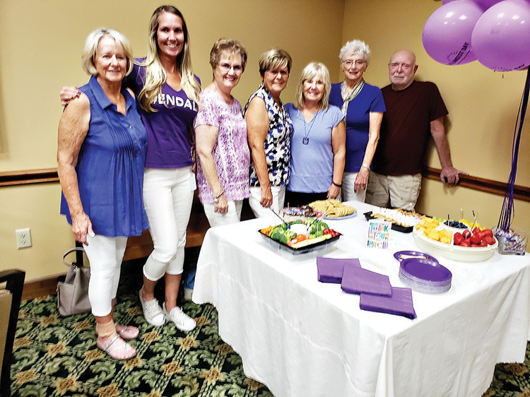 Left to right: Pat Smith, Tiffany Peek (Desert Southwest Chapter of the Alzheimer's), Georgia Jacka, Judy Brown, Kathy Bergman, Sue Woodard and Larry Monroe. Not pictured: Kate Tracy. All our directors at our club.