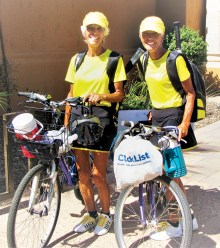 Sisters Jo (JoAnne) Terry and Jude (Judy) Tarkowski get ready to ride.