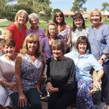 Team members include Cooky O'Brien, Joan Patchin, Diane Bostock (team captain), Kay Skripka, Lorinne Banister, Pat Owens (co-captain), Shelley Bain, Roxie Forrest, Pat Ingalls, and Pam DeRouin; not shown: Lauren Leonard and Joan Stedman.