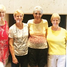 Members of the PebbleCreek Stingers Tennis Team enjoy a summer lunch at the Eagle's Nest Clubhouse dining room. From left to right: Myrna Speckhard, Rena Chouinard, Dottie Kiley (captain), Karen Lodico (co-captain), Bert Miller, Jean Bee, and Jo Terry.