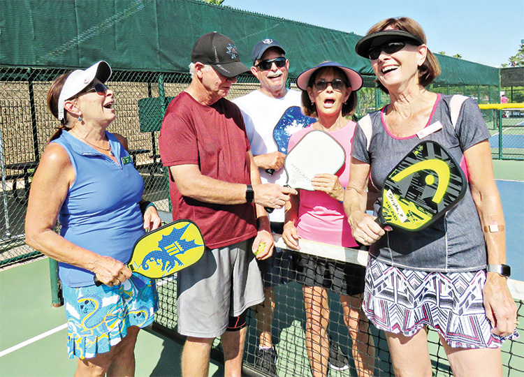 Left to right: Peggy Steffin, Instructor Bill Arnsenault (PCPB Club), Chuck Kelley, Teri DeMars, and Kay Skripka. Photo by Kathy Alto.