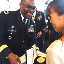 The Congressional Gold Medals were presented by Brigadier General Bruce C. R. Linton.