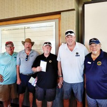 PCM9GA KP winners at Falcon Dunes (left to right): Bill Lansing; KP winners Jim Stahl, Bill Gray, and Joe Oliver (2 KP's); and Ray Clements, president.
