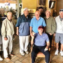 Other club members, shown standing, who helped Dick celebrate are Alan Hatfield, Mark Kloverstrom, Ron Snavely, Lee Ayers, Jerry McFarlane, Bob Sinnard, Charlie Craig, Bruce Dice, Merv Yaskiw, and Bernie Rubin. Seated in front: Dick Hawkins.