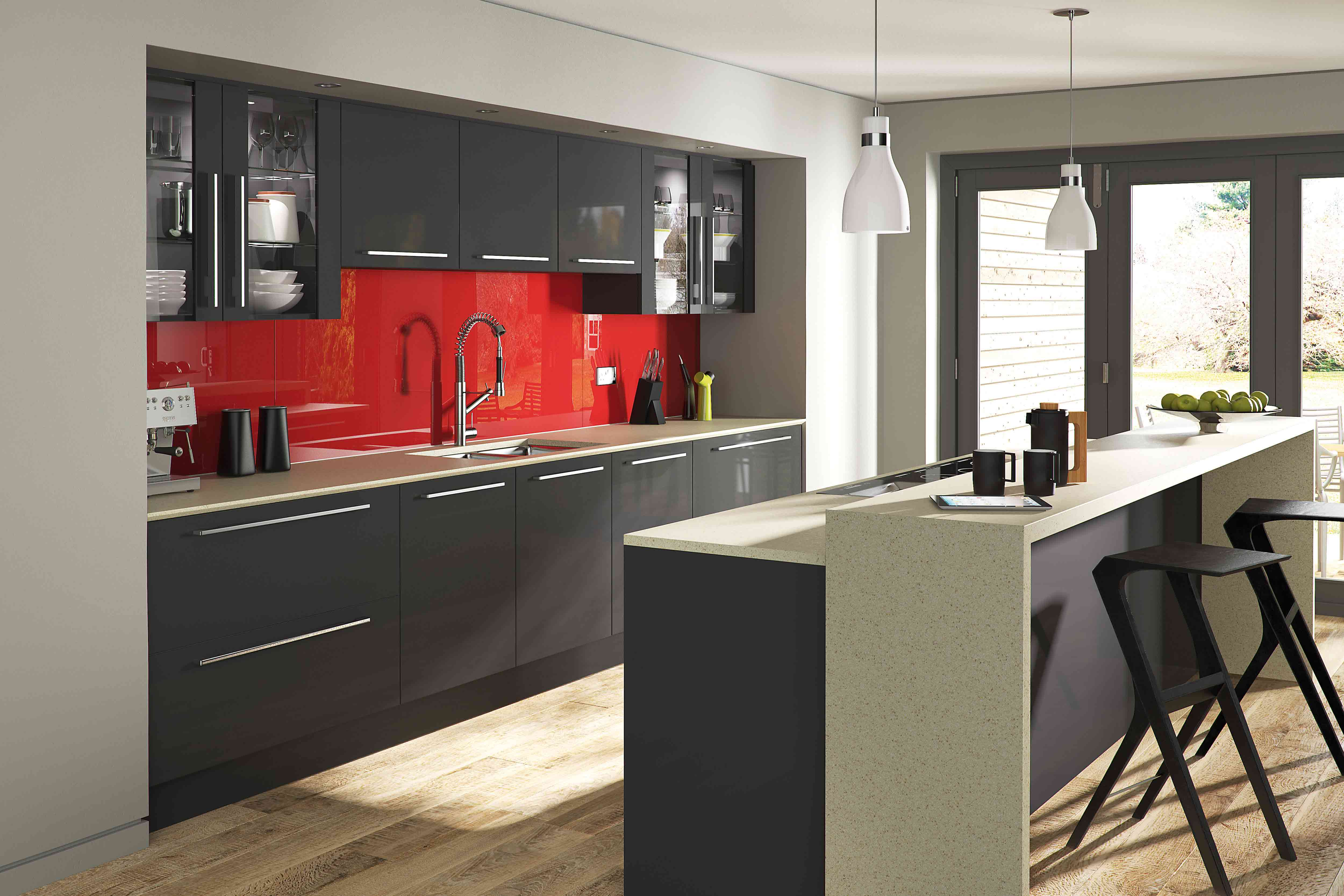 Aspen  High Gloss Acrylic  Pebble Kitchens