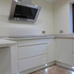 Traditional Kitchen Cabinets Pictures Cabinet Distributors Rimini Handleless - Cream Led Plinth Lights Pebble ...