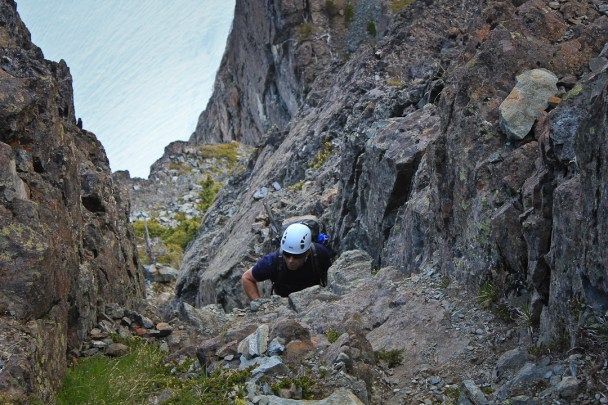 Scrambling up gullies