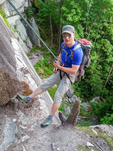 Rappelling in the Scarpa Crux Shoe