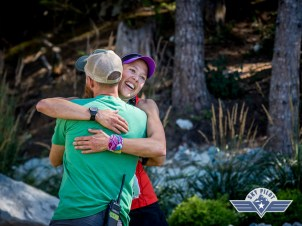 Gary makes sure to hug every finisher. I love these races!