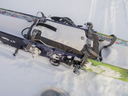 Skis mounted on SnoJo 20 backpack