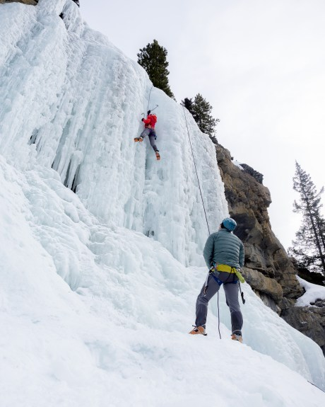 Belaying while ice climbing with the StretchDown RS jacket