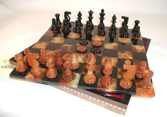 Blue and Grey Alabaster Stone Chess Sets